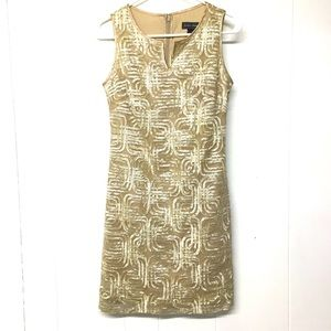 4P Shimmery Gold Ivory Sleeveless Slinky Dress